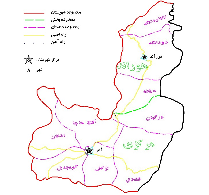 نقشه اهر
