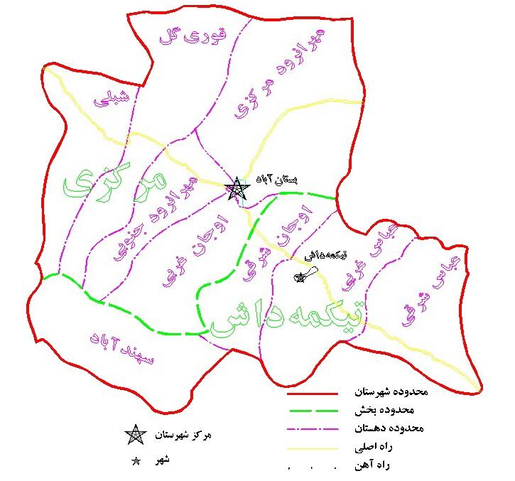 نقشه بستان آباد