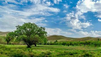 نمایهای از طبیعت زیبای روستای بالسین (بالیسین) مشرف به کوهستان بوزقوش